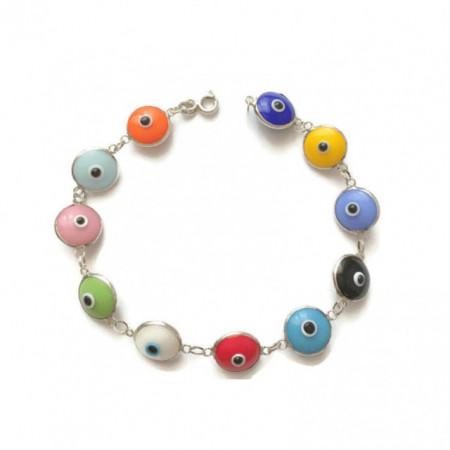 Multicolor Beads Wholesale 925 Silver Turkish Evil Eye Bracelet