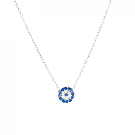 Wholesale Turkish Blue Evil Eye Mini Necklace Silver 925.