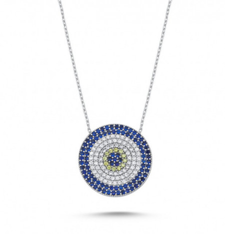 Wholesale Turkish Evil Eye Blue Disc Necklace Silver 925