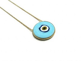 Baby Blue Wholesale Evil Eye Silver Necklace Ceramic Pendant images