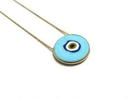 wholesale blue evil eye silver necklace
