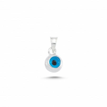 Blue Glass Beaded Evil Eye Pendant Wholesale Silver 925 5mm