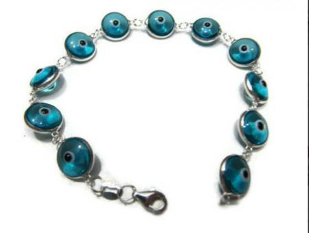 Blue Glass Evil Eye Wholesale 925 Silver Turkish Bracelet