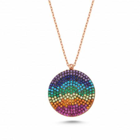 Multicolor Stone Wholesale Round Evil Eye Silver Necklace Pendant