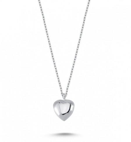 Plain Heart Pendant Wholesale 925 Silver Necklace