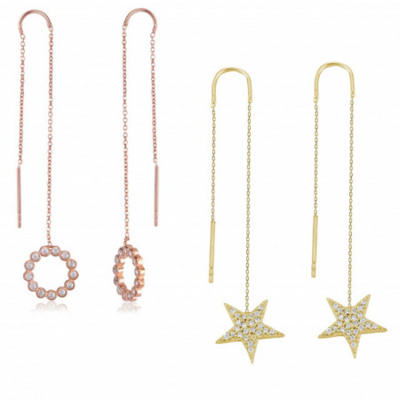 Wholesale Star Design Silver Earring with Chain