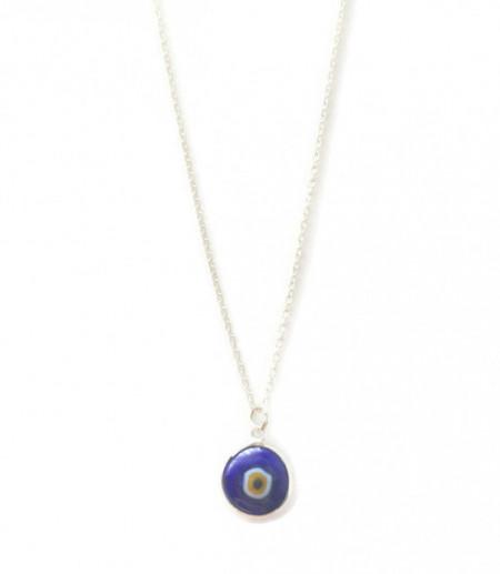Dark Blue Glass Evil Eye Bead Wholesale Turkish Silver Necklace