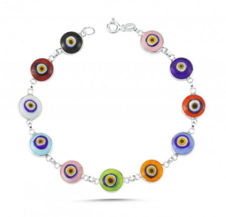 Multicolor Beaded Turkish Wholesale Evil Eye Silver Bracelet