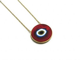 red  evil eye silver  ceramic pendant images