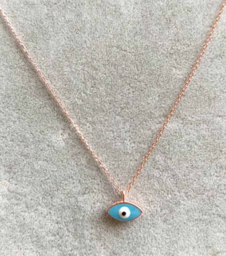 Turquise Evil Eye Mini Necklace Wholesale Silver 925