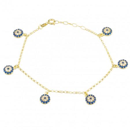 Wholesale Evil Eye Sterling Silver Charm Bracelet