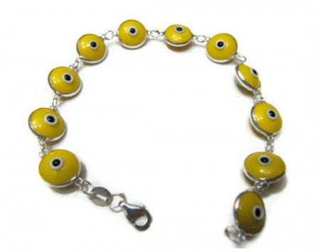 Yellow Evil Eye Wholesale Silver 925 Bracelet