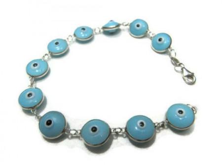 Baby Blue Wholesale Turkish Evil Eye Silver Bracelet