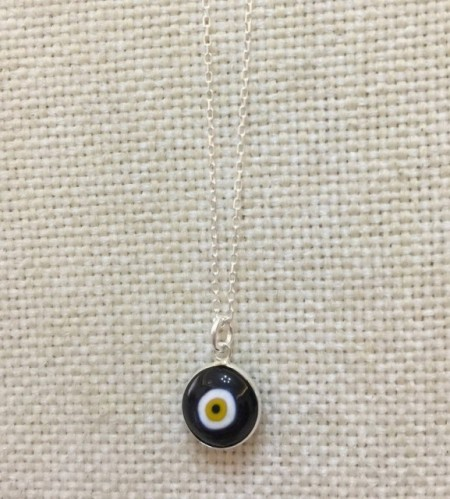 Black Luckyeye Glass Bead Silver Necklace images