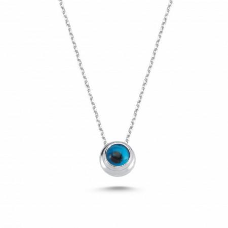 Blue Beaded Evil Eye Silver Wholesale Necklace Pendant