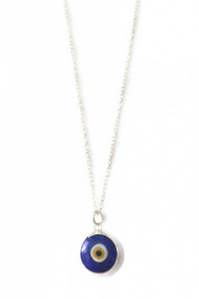Dark Blue Glass Evil Eye Bead Wholesale Turkish Silver Necklace