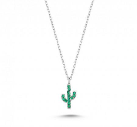 Mini Cactus Necklace Silver Wholesale Pendant