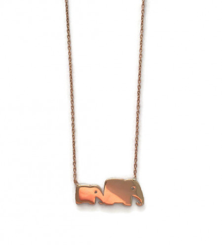 Mom and Baby Elephant Necklace Pendant Rose Gold Wholesale Silver