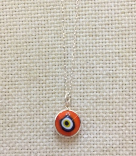 Red Luckyeye Glass Bead Silver Necklace images