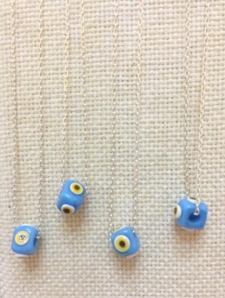Turquise Handmade Wholesale Evil Eye Turkish Beads Silver Necklace