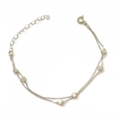 Wholesale CZ Chain Turkish Silver Bracelet