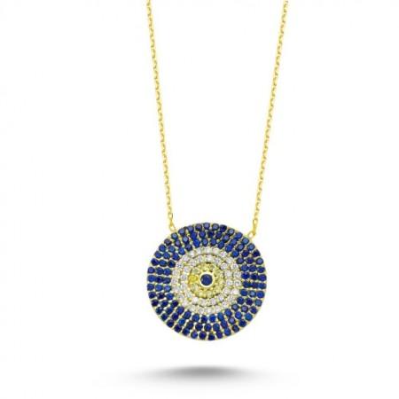 Wholesale Turkish Blue Evil Eye Large Necklace Pendant Silver 925