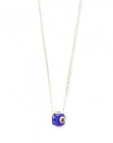 Blue Evil Eye Beads Wholesale Glass Handmade Silver Necklace