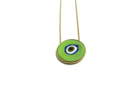 Green Evil Eye Wholesale Turkish Sterling Silver Round Necklace Pendant