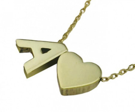 Letter A Heart Design Turkish Wholesale Silver Necklace