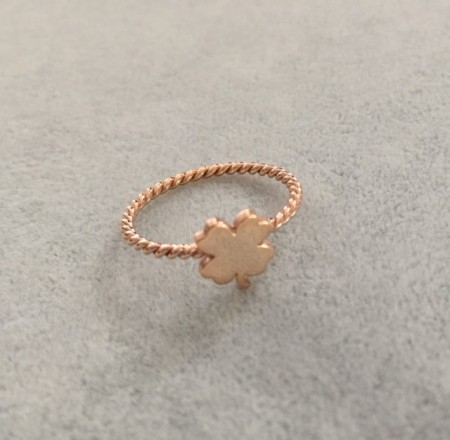 Turkish Rings Wholesale Minimal Clover Design Rose Gold Silver images
