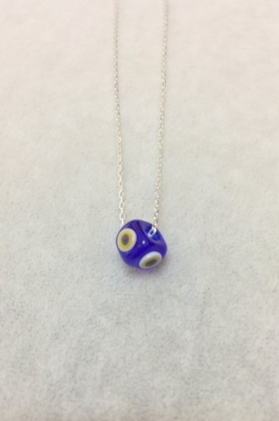 Blue Glass Handmade Evil Eye Silver Cubic Necklace images