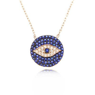CZ Blue Evil Eye Turkish Necklace Wholesale Silver 925