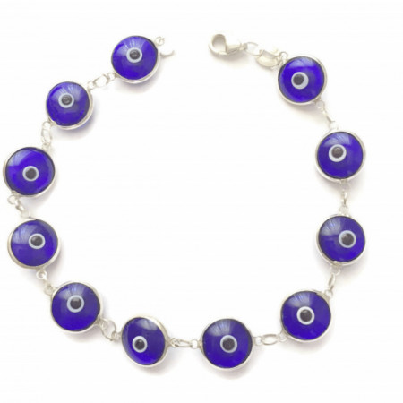 Dark Blue Evil Eye Wholesale Turkish Silver Bracelet