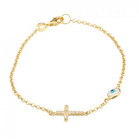 Wholesale Cross Design Turkish Evil Eye Silver Bracelet