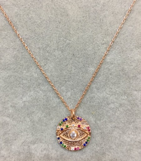 Wholesale Evil Eye Jewelry Rose Gold Turkish Necklace