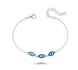 Blue Evil Eye Wholesale Turkish Silver Bracelet