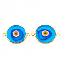 Double Side Hook Glass Blue Ceramic Evil Eye Bead