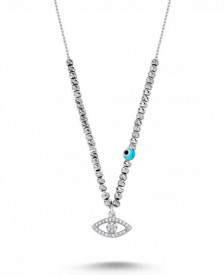 Wholesale Turkish Bead CZ Evil Eye Necklace