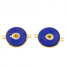 Double Side Hook Dark Blue Ceramic Evil Eye Bead