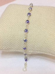 Mini Evil Eye Bracelet Beads Charm Wholesale Turkish Silver