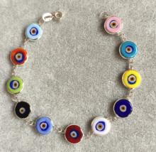 Multicolor Beaded Turkish Wholesale Evil Eye Silver