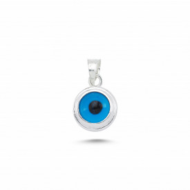 Blue Glass Beaded Evil Eye Pendant Wholesale Silver 925 8mm