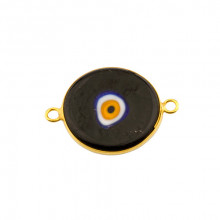 Double Side Hook Black  Ceramic Evil Eye Bead