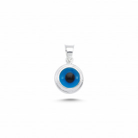 Blue Glass Beaded Evil Eye Pendant Wholesale Silver 925 7mm