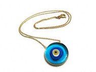 blue glass  evil eye silver round  pendant