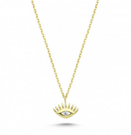 Wholesale Tiny Turkish CZ Evil Eye Gold Necklace