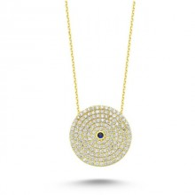 Wholesale Turkish Blue Stone Evil Eye Necklace Silver 925
