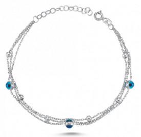 Evil Eye Bracelet Beads Charm Wholesale Turkish Silver