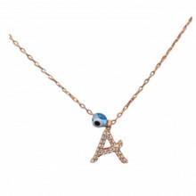 Letter A Alphabet Necklace Rose Gold Initial Evil Eye Wholesale Pendant
