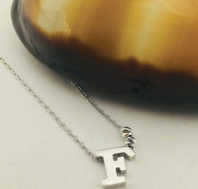 Letter F  Design Turkish Wholesale Silver Necklace